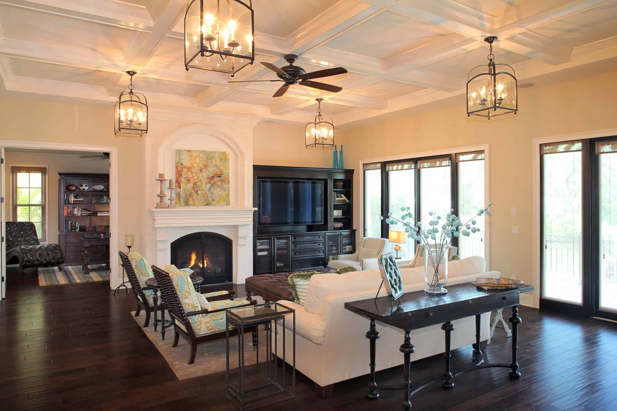 Great rooms fireplaces luxury estates devonshire for Living room lighting designs