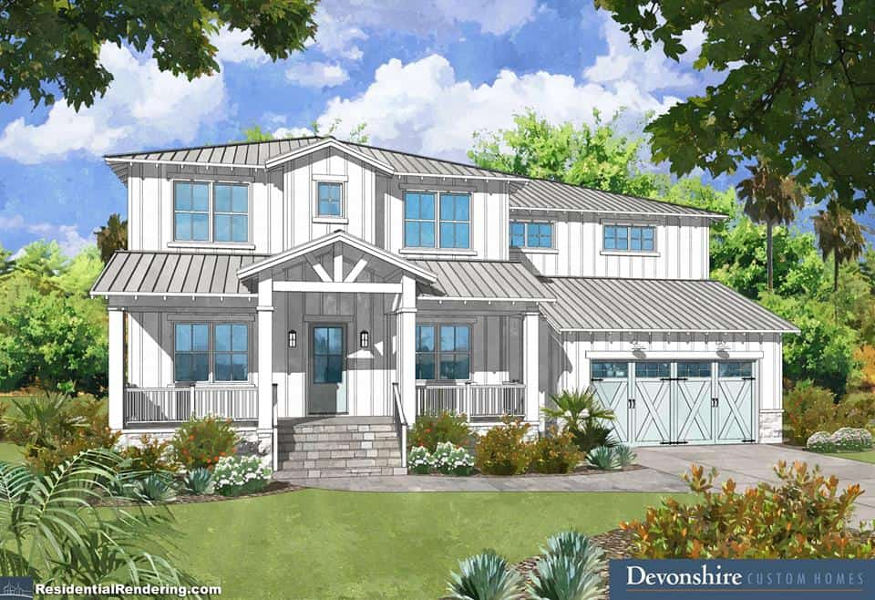Listed Modern Farmhouse rendering_Davis Islands